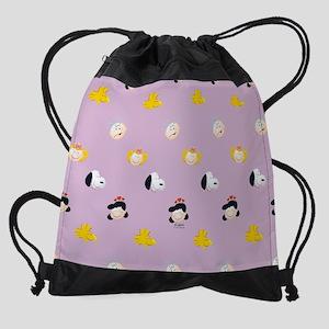 Peanuts Gang Emoji Purple Drawstring Bag