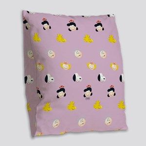 Peanuts Gang Emoji Purple Burlap Throw Pillow