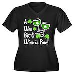 Wee Bit O' Wine Women's Plus Size V-Neck Dark T-Sh