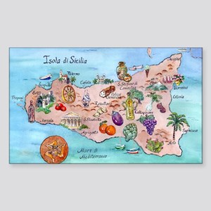 Map Of Sicily Sticker