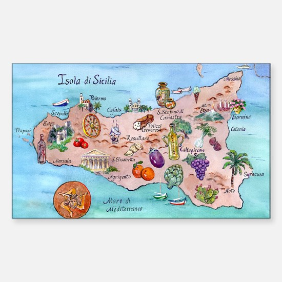 Map Of Sicily Decal