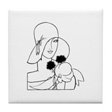 Art deco lady square Tile Coasters