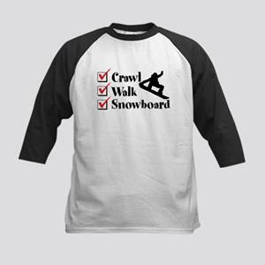 Crawl Walk Snowboard Kids Baseball Tee