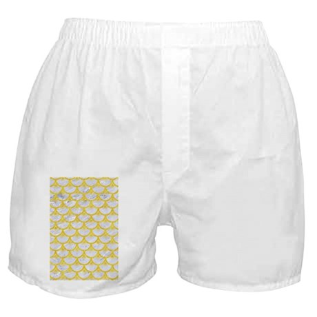 SCALES3 WHITE MARBLE & YELLOW COLORED Boxer Shorts