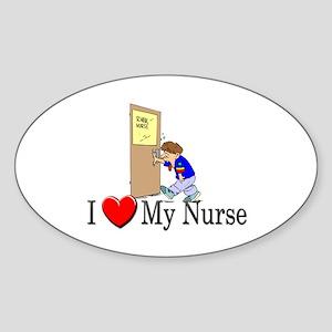 I Love My Nurse Oval Sticker
