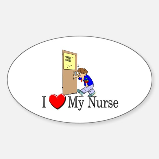 I Love My Nurse Oval Decal