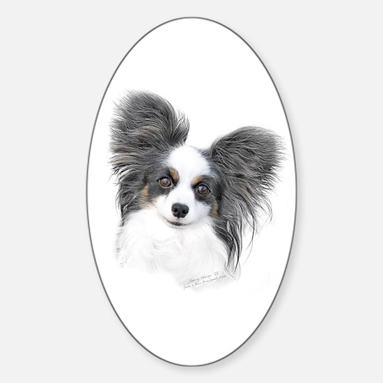 Papillon Headstudy Oval Decal