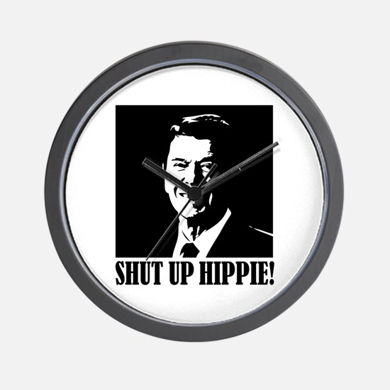 "Ronald Reagan says ""SHUT UP HIPPIE!"" Wall Clock"