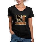 Tiki Time on Sanibel - Women's V-Neck Dark T-Shirt