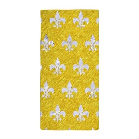 ROYAL1 WHITE MARBLE & YELLOW COLORED P Beach Towel