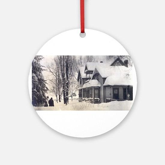 Ornament (Round)-Farm Snow