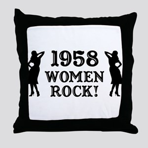 1958 Women Rock, 50th Throw Pillow