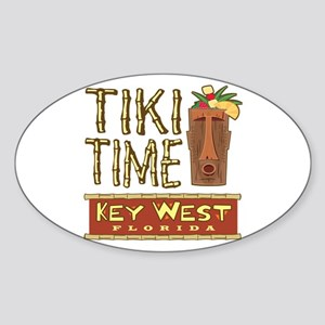 Key West Tiki Time - Oval Sticker