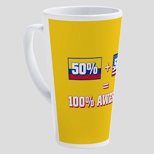 50% Trinidad and Tobago, 50% Ameri 17 oz Latte Mug