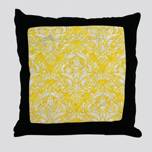 DAMASK1 WHITE MARBLE & YELLOW COLORED Throw Pillow