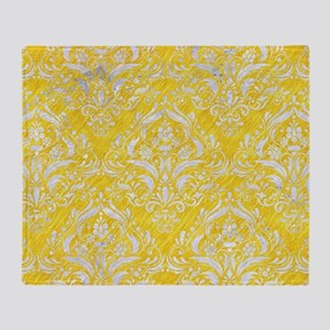 DAMASK1 WHITE MARBLE & YELLOW COLORE Throw Blanket