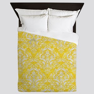 DAMASK1 WHITE MARBLE & YELLOW COLORED Queen Duvet