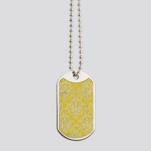 DAMASK1 WHITE MARBLE & YELLOW COLORED PEN Dog Tags