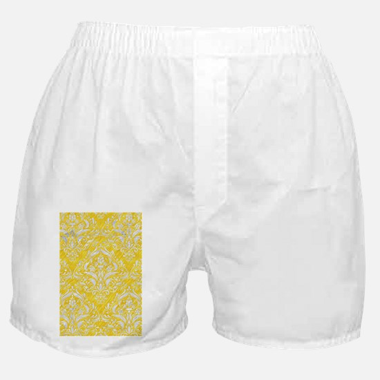 DAMASK1 WHITE MARBLE & YELLOW COLORED Boxer Shorts