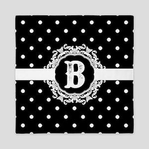 Black Monogram: Letter B Queen Duvet