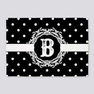 Black Monogram: Letter B 5'x7'Area Rug