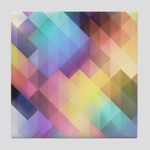Abstract Colorful Decorative Squares Tile Coaster