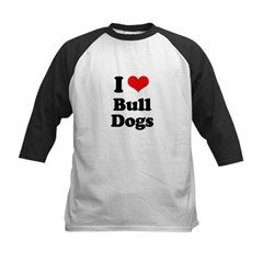 I Love Bull Dogs Kids Baseball Jersey