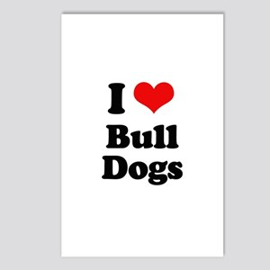 I Love Bull Dogs Postcards (Package of 8)
