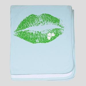 Green Lips & White Irish Shamrock baby blanket