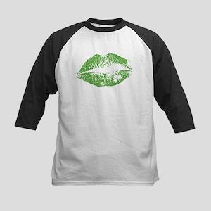 Green Lips & White Irish Shamrock Baseball Jersey