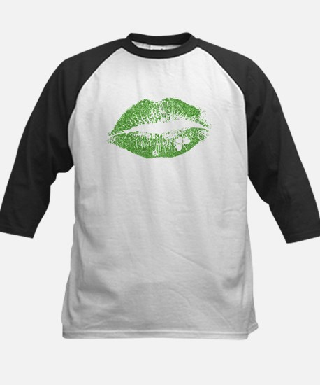 Green Lips & White Irish Shamrock Baseball Jersey