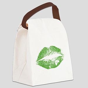 Green Lips & White Irish Shamrock Canvas Lunch Bag