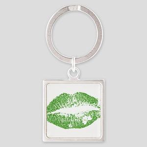Green Lips & White Irish Shamrock Keychains