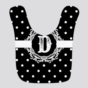 Black Monogram: Letter D Polyester Baby Bib
