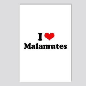 I Love Malamutes Postcards (Package of 8)