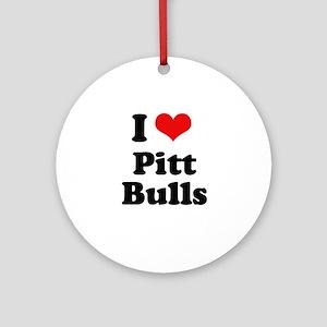 I Love Pitt Bulls Ornament (Round)