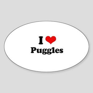 I Love Puggles Oval Sticker