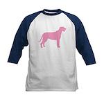 Pink Irish Wolfhound Kids Baseball Jersey