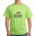 I Love Springer Spaniels Green T-Shirt