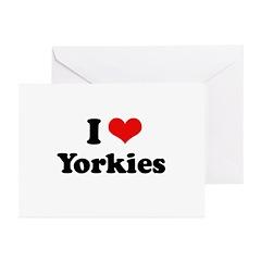 I Love Yorkies Greeting Cards (Pk of 20)
