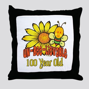 Un-Bee-Lievable 100th Throw Pillow