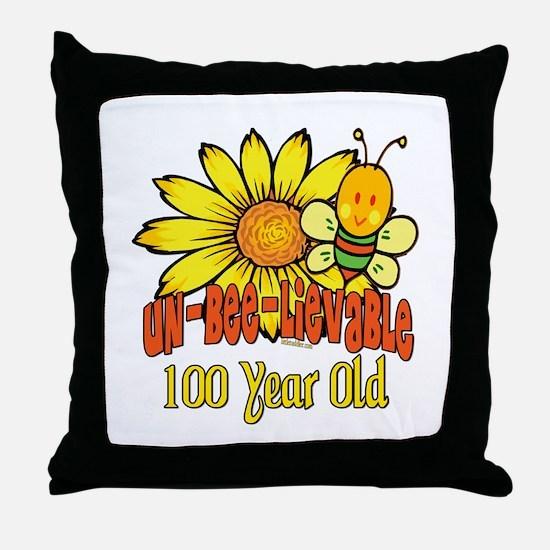 Un-Bee-Lievable 100th Throw Pillow