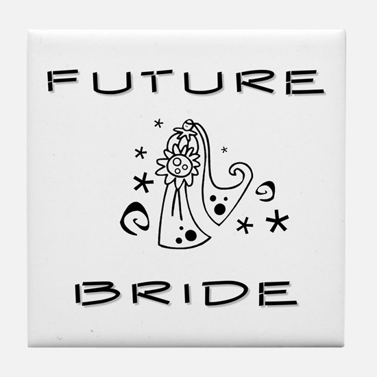 B and W Future Bride Tile Coaster