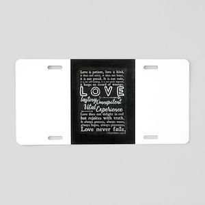 1 Corinthians 13:4-8 Love i Aluminum License Plate