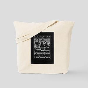 1 Corinthians 13:4-8 Love is patient Tote Bag