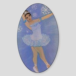 Snow Princess Ballerina Oval Sticker