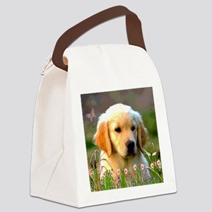 Austin The Retriever Puppy Canvas Lunch Bag