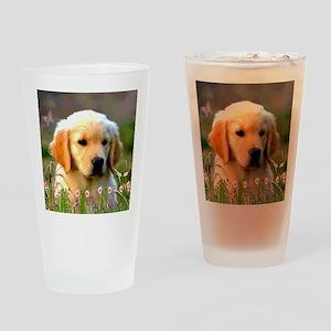 Austin The Retriever Puppy Drinking Glass