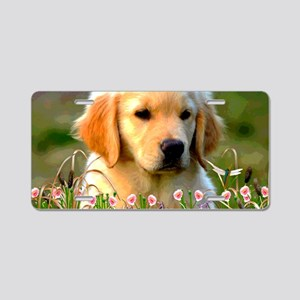 Austin The Retriever Puppy Aluminum License Plate