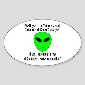FIRST BIRTHDAY Oval Sticker